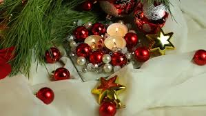 beautiful ornaments and candles for new year decoration new year