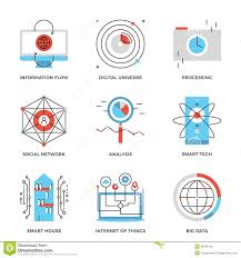 Smart Technologies by Big Data And Smart Technology Line Icons Set Stock Vector Image