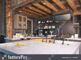 residential architecture rustic cabin kitchen stock image