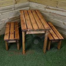 childrens bench and table set hand made furniture childrens kids chunky wooden picnic bench