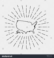 United States Map Outline by Vector United States Map Outline Retro Stock Vector 414547357