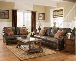 living room brown curtain curtain rod glass window brown leather