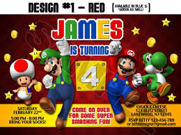 super mario bros birthday party photo invitations printable