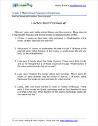 math problem fractions 3rd grade math worksheets fractions word problems printable