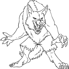 demon wolf coloring pages lineart classic movie monsters