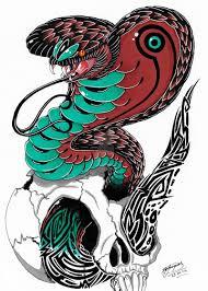 tribal king cobra design coloured by shannonxnaruto on