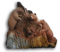 carved bears statue momma cubs carving