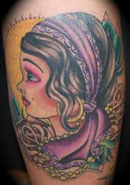 neo traditional gypsy tattoo design photos pictures and