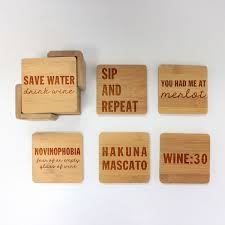 wooden drink coaster engraved bamboo coaster set