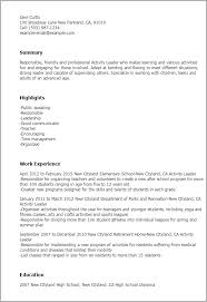 Example Of A Resume For A Teenager by Professional Activity Leader Templates To Showcase Your Talent