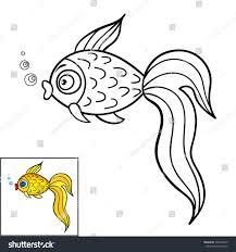 coloring book page kidscute cartoon goldfish stock vector