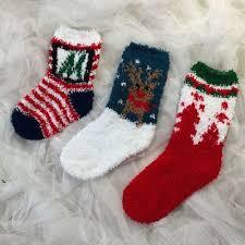 fuzzy christmas socks fashion christmas striped floral socks boys childrens