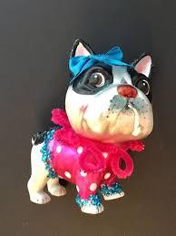 boston terrier ornament robert stanley glass bow