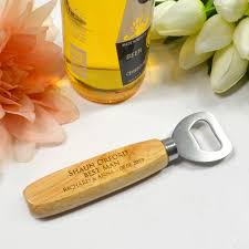 bottle opener favors bottle opener with engraved wooden handle personalized favors