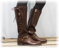 womens boots look brown leather look side lace up boot boots boots