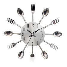 wholesale 2016 new design diy novel large cutlery spoon fork clock