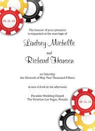 vegas wedding invitations sle las vegas wedding invitations chips invitations