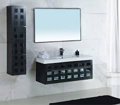 Floating Storage Cabinets Bathroom Black Rectangular Vanity Cabinet With White Sink Plus