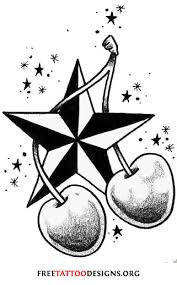 cherry girly skull and nautical star tattoo design in 2017 real