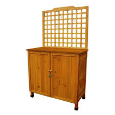 outdoor storage solid wood cabinet potting bench with hanging