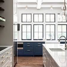 modern farmhouse kitchen black cabinets modern farmhouse kitchen enhanced by wall of black windows