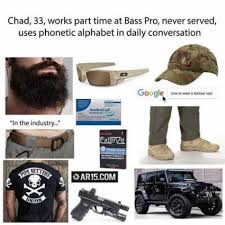 Alphabet Meme - chad 33 works part time at bass pro never served uses phonetic