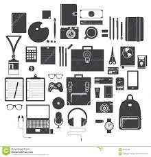 equipement bureau ensemble d icône d équipement de bureau d instrument de voyage et