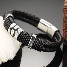 man black leather bracelet images Trustylan cool black genuine leather bracelet men fashion jewelry jpg
