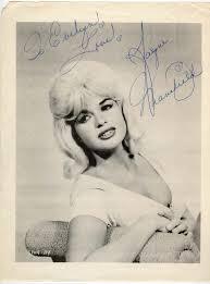 jayne mansfield autographed photo actress autographs
