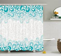 fabric shower curtains for bathroom turquoise amazon com