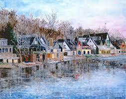 Boat House Row - winter boathouse row philadelphia painting pop