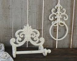 French Decor Bathroom Bathroom Set White Bath Tissue Holder Towel Ring Shabby