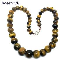 necklace stone bead images Classic knotted natural stone bead necklace tiger eye stone jpg