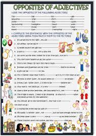 adjectives in sentences opposites of adjectives in sentences worksheet free esl