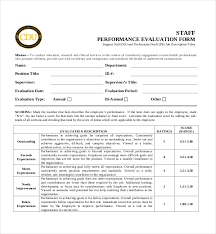 10 sample performance evaluation forms sample forms