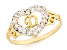 golden heart rings images Gold heart shape letter 39 d 39 initial cz ring jewelry jl 2367 jpg