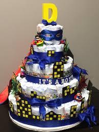 Batman Baby Shower Decorations Superhero Batman Superman Justice League Diaper Cake Letter D For