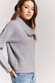 cowl sweater ribbed cutout cowl neck sweater forever 21 2000227750