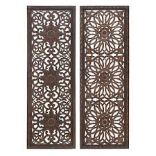 rustic set 2 moroccan pattern vintage indian decor wood