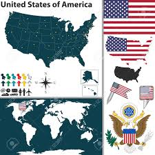 United States Regions Map Vector Map Of United States Of America With Regions Coat Of