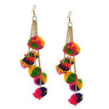 funky earrings buy zephyrr fashion multicolor pompoms hook tassel dangle
