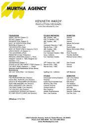 Production Designer Art Director Kenneth Hardy Resume
