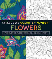 amazon com stress less color by number flowers 75 coloring pages