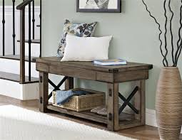 Affordable Furniture Source by Ameriwood Furniture Wildwood Wood Veneer Entryway Bench Rustic Gray