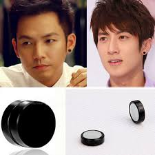 black stud earrings mens 2sets titanium steel mens women trendy magnetic clip black