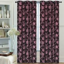 pair of margaret jacquard window panels w grommets chocolate
