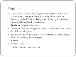 Qualification Profile Resume Resume Makeover Business Writing English 307