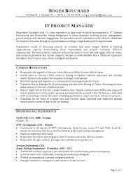 project manager resume sle resume sle of it manager 28 images it manager resume exles