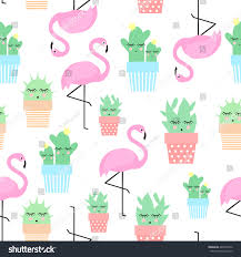flamingo cacti cute pots seamless pattern stock vector 464975252