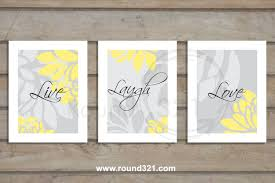 set of 3 live laugh love modern floral print set by prints321